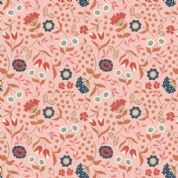 Lewis & Irene Cheiveley - 5627  - Copper & Blue Floral on Pink (Metallic) - A241.2 - Cotton Fabric